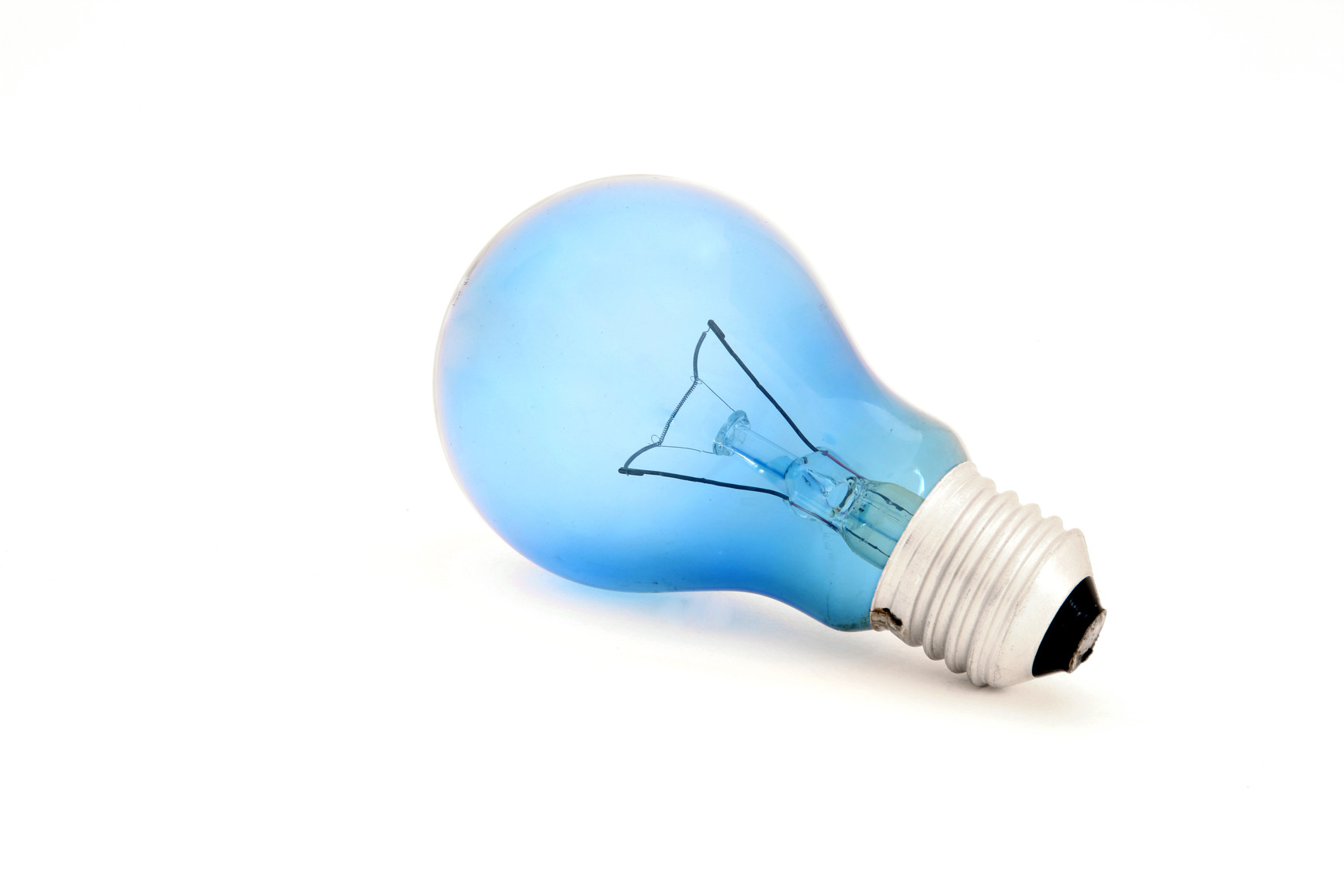 isolated blue light bulb for reading
